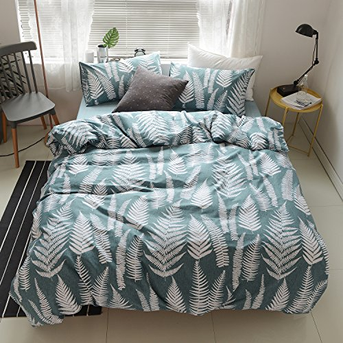 OREISE Duvet Cover Set Full/Queen Size 100% Cotton Teal/Green Printed Tropical Botanical Leaves Pattern 3Piece Bedding Set (1 Duvet Cover + 2 Pillow Shams) With Zipper Closure Soft Breathable ()