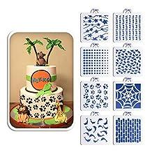 ART Kitchenware 8pcs/set Dolphins/Dots/Wall/Footprint Pattern Stencil Set for Cake Decorating,Stencil for Cake Decoration Decorative Stencil for Cookies ST-839 Beige/Semi-Transparent