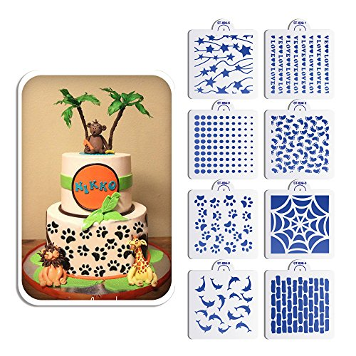 AK ART KITCHENWARE 8pcs Dolphins Footprint Design Plastic Stencil Set for Fondant Cake Decorating Stencils Cookie Stencils for Painting for Royal Icing Airbrush Stencils ST-839