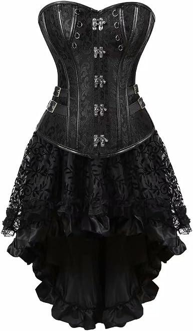 jutrisujo Cuero Gothic Steampunk corsés y Bustiers Vestidos Falda ...
