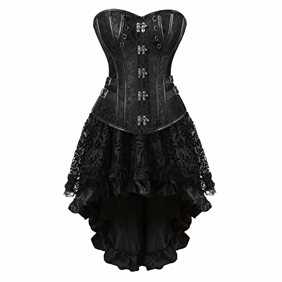 3600c32044fc1 AIZEN Steampunk Dress Corsets for Women Gothic Punk Leather Bustier Skirt  Pirate Costume Halloween Plus Size  Amazon.co.uk  Clothing