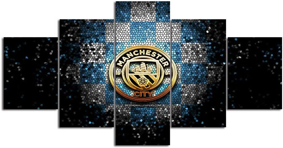Manchester City Wall Art 5 Piece Canvas Paintings FC Football Club Picture Poster 10 Home Decor for Living Room Artwork Framed Ready to Hang-200x100cm