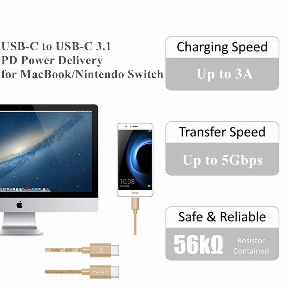 Power Trend 2M 6.6FT Nylon Braided Type C to Type C 3.1 USB Data Transfer Cable Charging Cord 5Gbps for MacBook PD Power Delivery and Nintendo Switch (Luxury Gold)