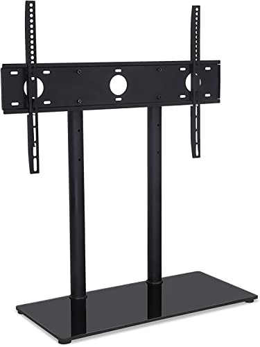 Mount-It MI-846 Universal Height Adjustable Tabletop TV Stand w Tempered Glass Base, Television Base Stand Bracket Fits 32-55 inch LED LCD 4K TV s