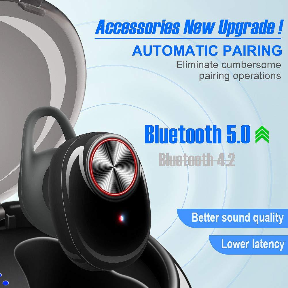 Auriculares Bluetooth, V5.0 Auriculares Inalámbricos Deportivos, TWS Mini Auriculares Estéreo In-Ear Bluetooth 5.0 con Micrófono y Caja de Carga Portátil ...