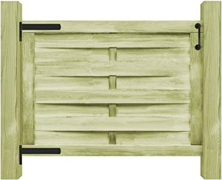 vidaXL Puerta de Valla Jardín Madera Impregnada Verde 100x75 cm Cercado: Amazon.es: Bricolaje y herramientas