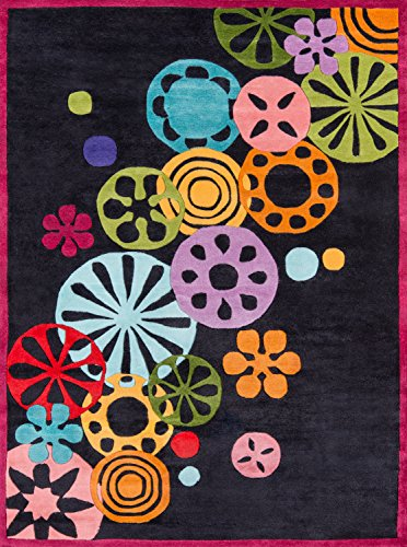 Momeni Rugs LMOTWLMT-8BLK4060 Lil' Mo Hipster Collection, Kids Themed Hand Carved & Tufted Area Rug, 4' x 6', Black