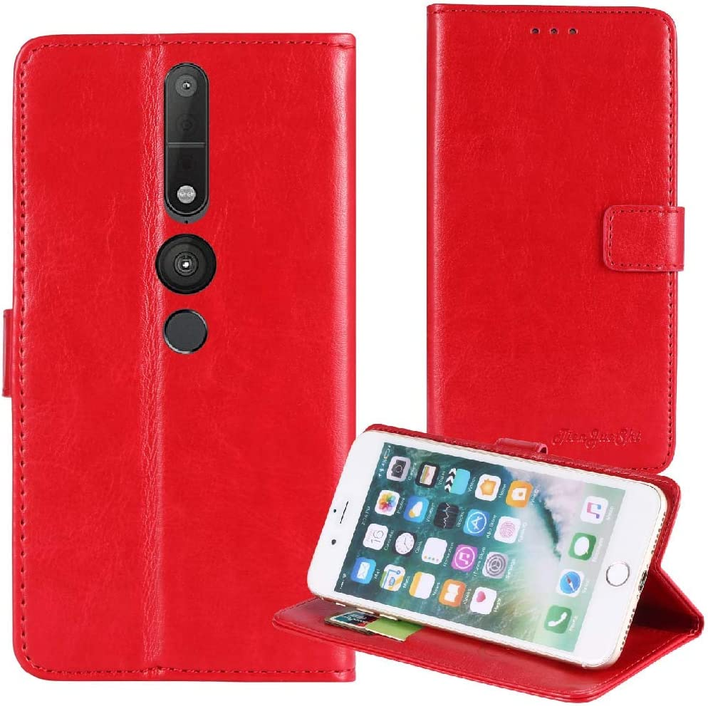TienJueShi Red Book Stand Premium Retro Business Flip Leather Protector Case Cover TPU Silicone Etui Wallet for Lenovo Phab 2 Pro 6.4 inch