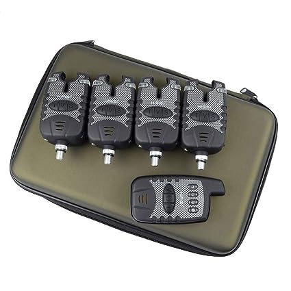 Kit de alarma de pesca 4 + 1 inalámbrico, para pesca de carpas, de Hirisi Tackle®