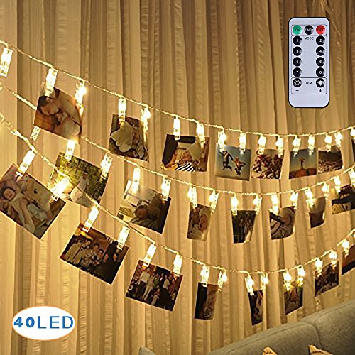Warmoor 40 LEDs Photo Clips String Lights,16 Feet Remote Control Fairy String Lights, 8 Modes Battery Operated Wedding Party Home Wall Lights for Hanging Pictures Photos (Lights Wedding Hanging)