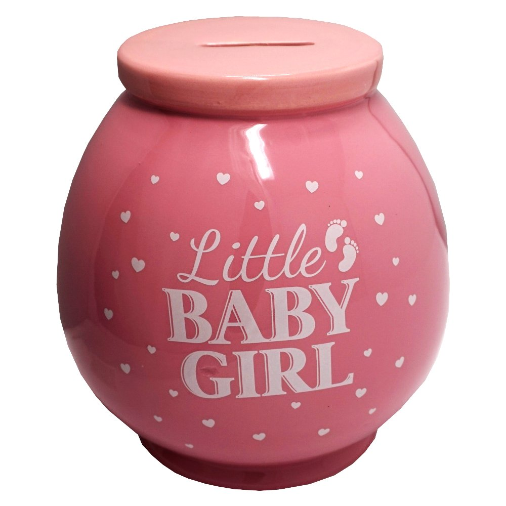 Little Baby Girl Pink and White Fun Novelty Keepsake Money Box Jar Lesser & Pavey