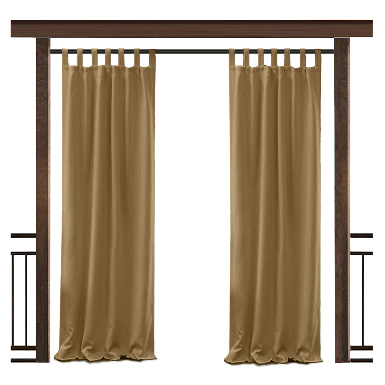 TWOPAGES Outdoor Waterproof Curtain Wheat Tab Top Drape, 50'' W x 72'' L for Front Porch Pergola Cabana Covered Patio Gazebo Dock Beach Home (1 Panel)