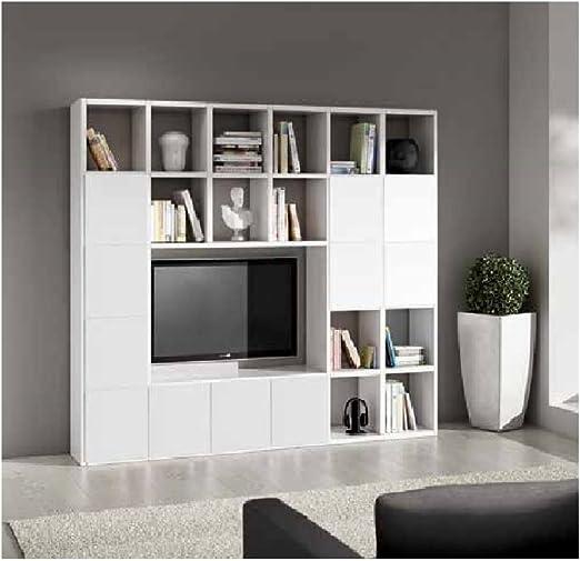 InHouse srls Conjunto de salón Compuesto por librería Mueble TV Blanco poro Abierto, Estilo Moderno, en MDF Laminado - Medidas 261 x 30 x 218 …: Amazon.es: Hogar