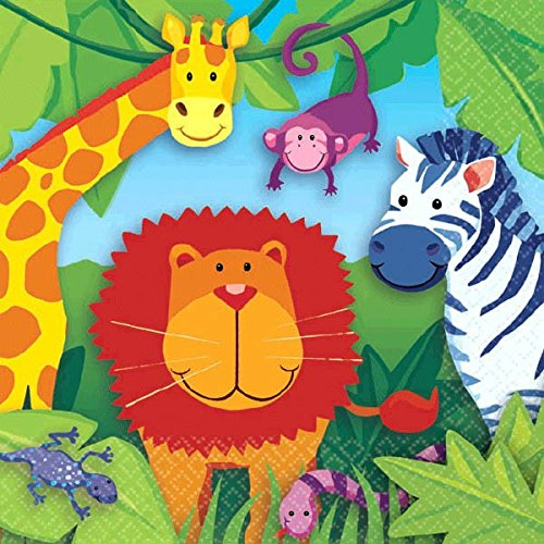 Amscan Colorful Jungle Animals Birthday Party Beverage Napkins Party Supply 5 x 5 Multi