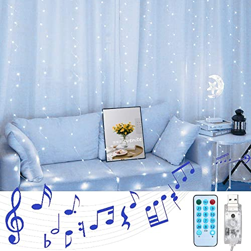 LoveNite Curtain String Lights with Voice Activated, 300 LED Window Music Fairy Lights String USB Powered Remote for Christmas Wedding Party Indoor Outdoor Home Decor Cool White