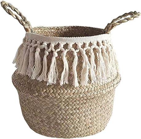 Folding Seagrass Woven Basket Flower Plant Pot Laundry Bag For Home Garden Decor