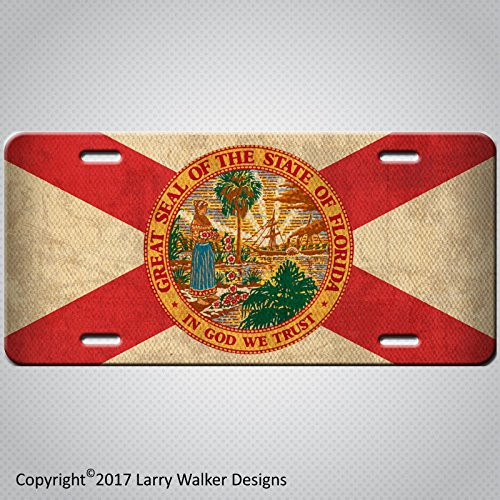 Americana Plate (Americana Florida State Flag Aluminum License Plate Tag Antique Vintage)