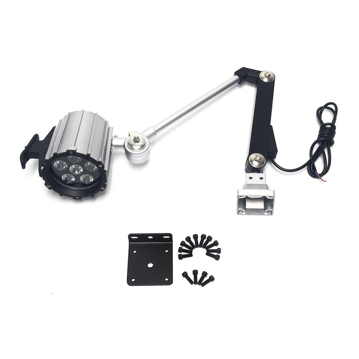 Wisamic LED Work Light for Lathe, CNC Milling Machine, Drilling Machine, Aluminum Alloy, 12W 110V-220V, Adjustable Multipurpose Worklight, Long Arm by WISAMIC (Image #7)
