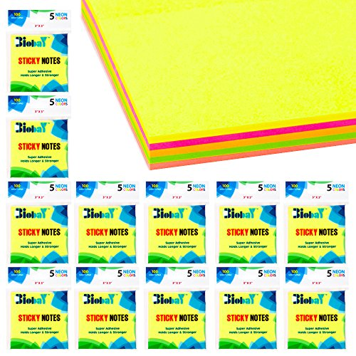 BIOBAY Self Stick Notes | Bulk Pack of 12 Pads - Super Sticky, Holds Longer & Stronger – 3 x 3 inches – 5 Assorted Vibrant Colors, 100 Post Notes per Pad