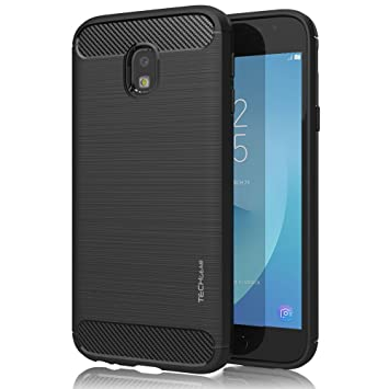 hot sale online 54c84 5d040 TECHGEAR Galaxy J3 2017 Case - [Stealth Case] Flexible, Shockproof, Slim  Fit, Soft TPU Protective Shell Cover with Carbon Fibre Design Compatible  with ...