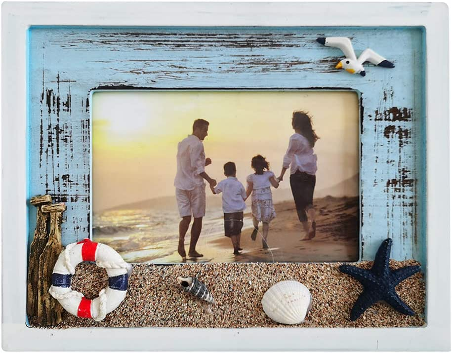 Small 4/'/'x 6/'/' Picture Frame Sailboat Handmade Metal Brown Photo Holder