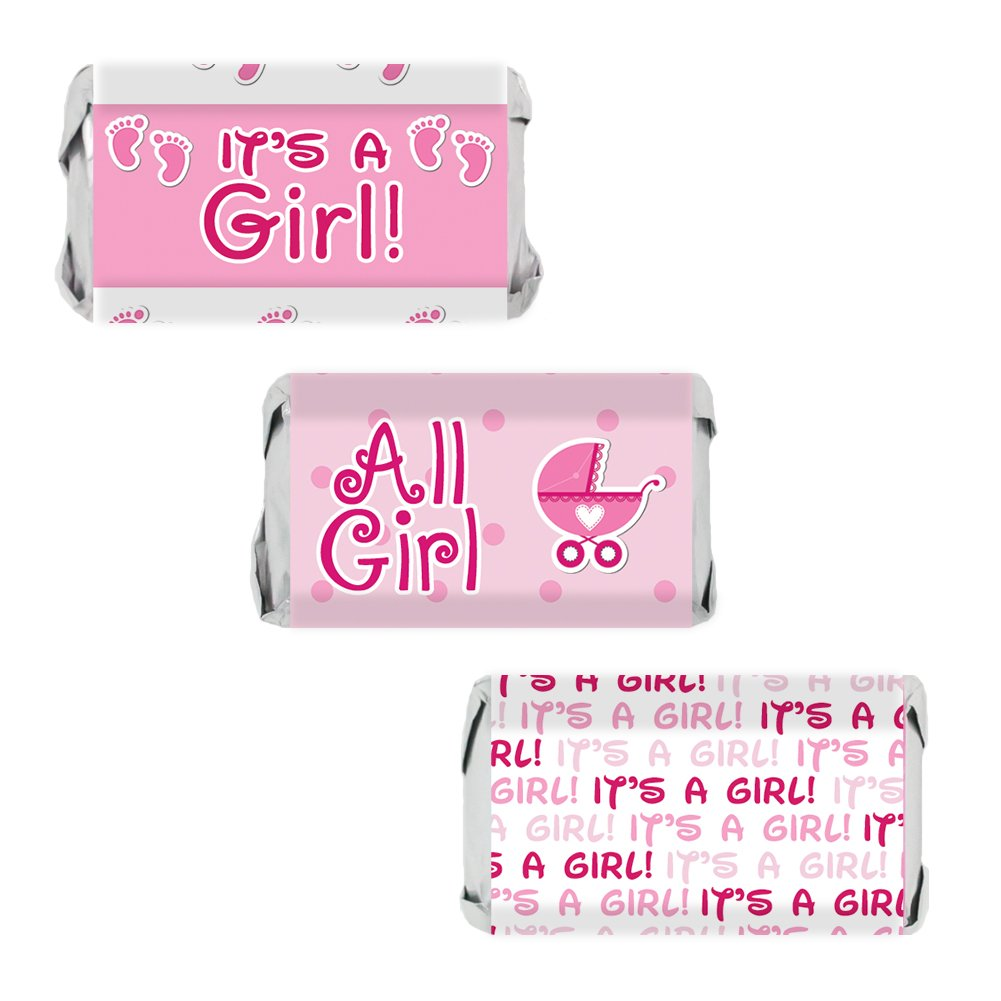 Amazon.com: Pink It\'s a Girl Baby Shower Favor Miniatures Candy Bar ...