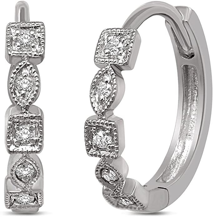 Diamond Stackable Hoop Earrings Wickersham Closeouts 14K Yellow Gold 1//6 Ct.tw Color G-H Clarity I2