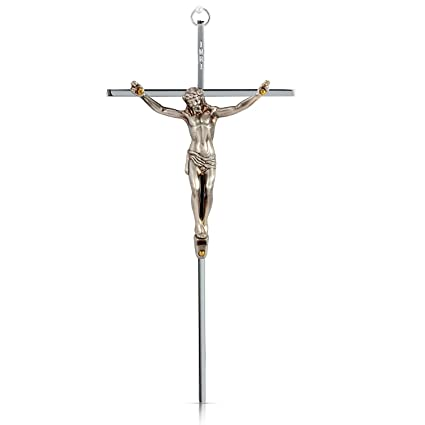 SmartChoice Crucifix   Solid Brass Antique Silver Polished Wall Cross   10u0026quot;   Packed
