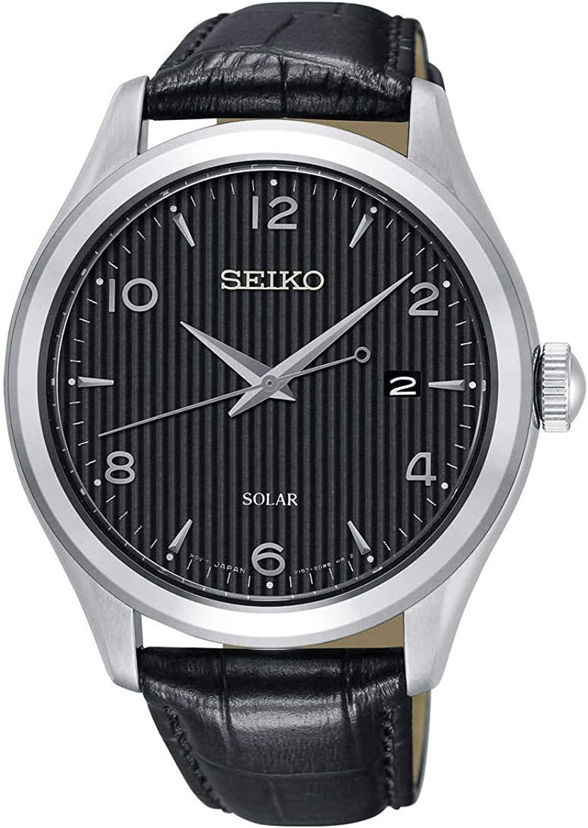 Seiko SNE495 Men s Solar Black Dial Black Leather Band Dress 100M Watch