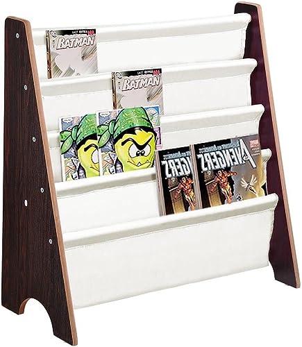 Aromzen Wood Kids Book Shelf Sling Storage Rack Organizer Bookcase Display Holder Walnut - a good cheap modern bookcase