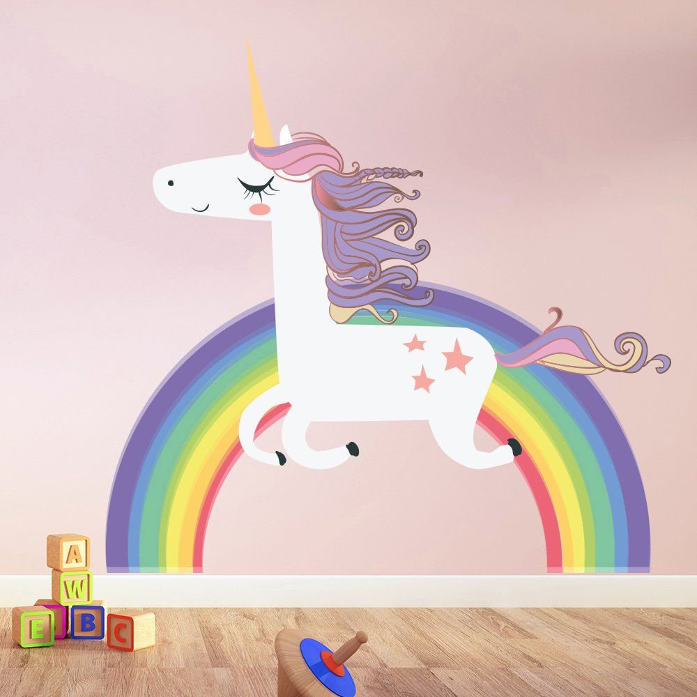 azutura Unicorn Wall Sticker Rainbow Wall Decal Art Girls Bedroom Nursery Home Decor available in 8 Sizes X-Large Digital