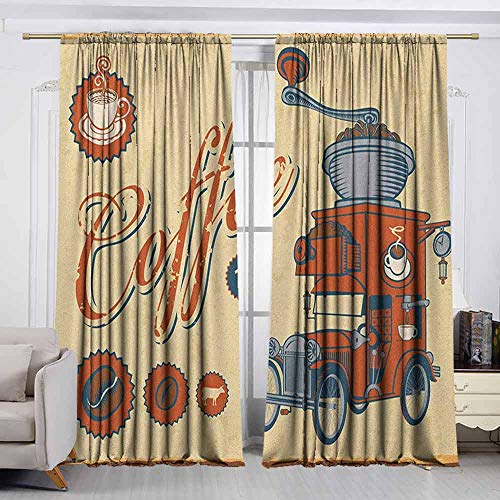 VIVIDX Window Curtains,Retro,Artsy Commercial Design of Vintage Truck with Coffee Grinder Old Fashioned,Room Darkening Thermal,W55x63L Inches Cream Orange Grey