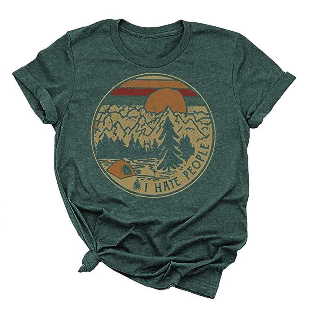 Tee Shirts Unisex Women S Sloth Running T Shirt Short Sleeve I Hate People
