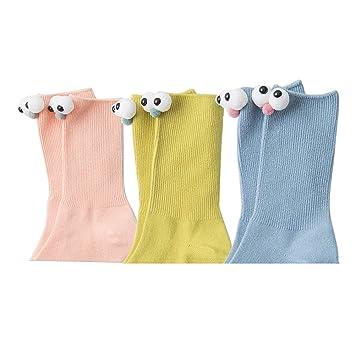 Calcetines de algodón para Mujer Niña Gracioso Calcetines Lindos Ojos Grandes Diversión de Animales Funky Regalo