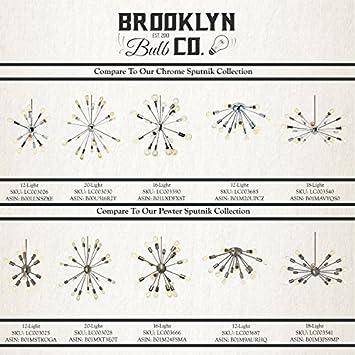 Brass Sputnik Chandelier 16 Light – Mid-Century Ceiling Fixture, Modern Starburst Style, Dimmable, Damp Located – ETL Listed