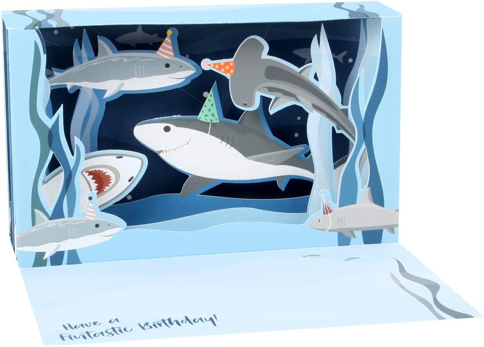 Up With Paper LED Delighted Shadowbox Card - Sharks