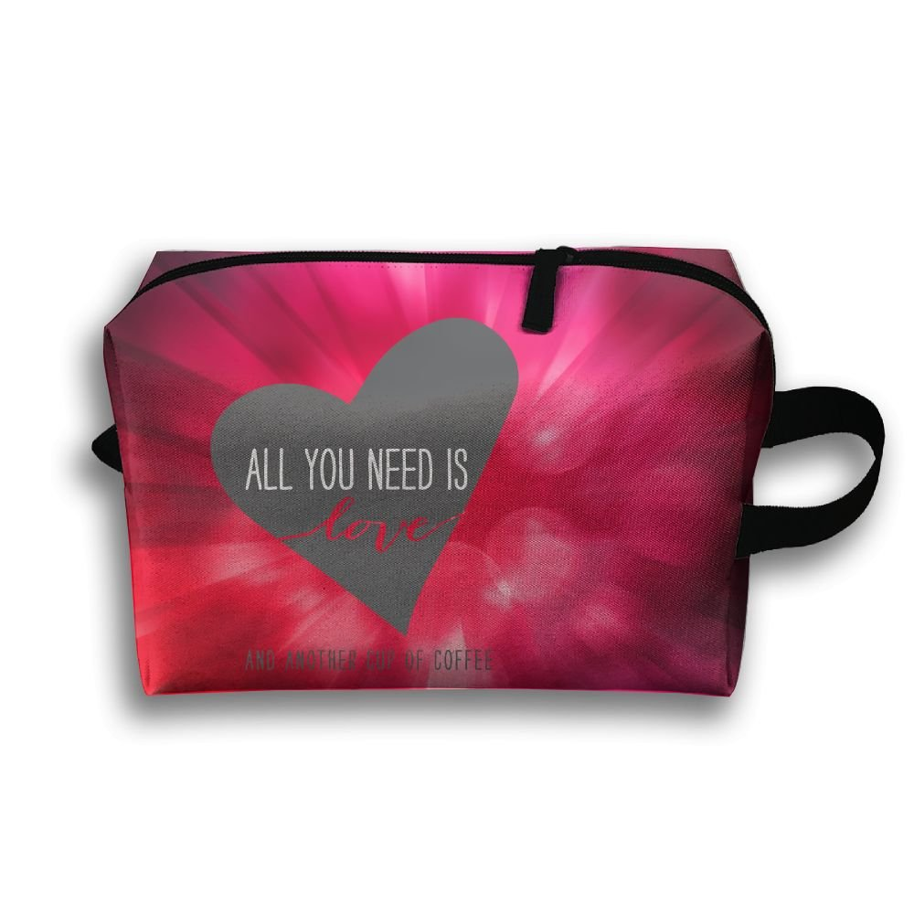 Love And Coffee Is All You Need Travel Bag Multifunction Portable Toiletry Bag Organizer Storage