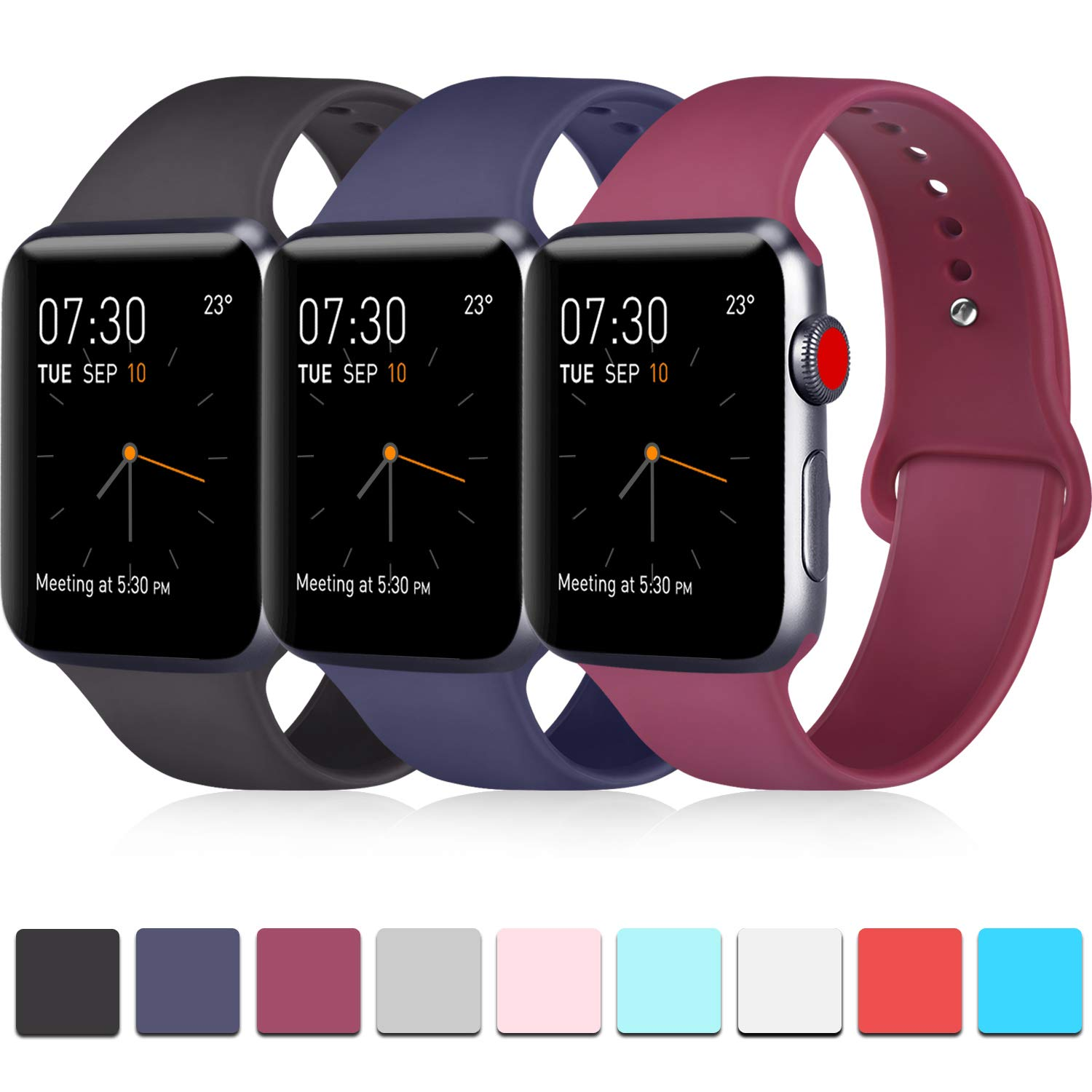 Pack 3 Compatible with Apple Watch Band 38mm for Men, Soft Silicone Band Compatible iWatch Series 4, Series 3, Series 2, Series 1 (Black/Navy Blue/Wine Red, 38mm/40mm-S/M)