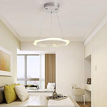 Wanson European Kronleuchter Schlafzimmer Restaurant Pendelleuchte LED  Ringel Licht Acryl Creative Lichtspiele Durchmesser 20Cm Weiß Ring