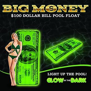 Big dinero brilla en la oscuridad 100 dólares Bill hinchable piscina flotador: Amazon.es: Deportes y aire libre