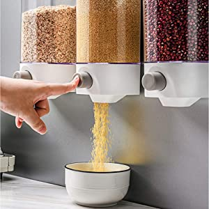 Wall Mounted Rice Storage Tank, Dry Food Dispenser, Whole Grains Rice Bucket Wall-Mounted Rice Storage Tank, Kitchen Food Storage, Single Dry Food Snack Grain Canister Food Storage Organizer (1000ML)