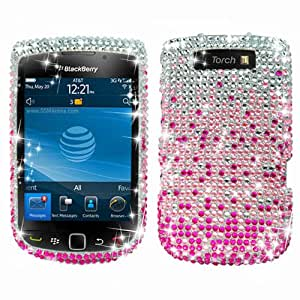 Hard Plastic Snap on Cover Fits RIM Blackberry 9800 9810 Torch, Torch 4G Waterfall Pink Full Diamond AT&T