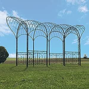 Gran cenador, pérgola o quiosco de paso para jardín en hierro (561 cm): Amazon.es: Hogar