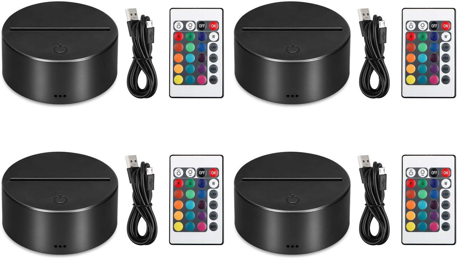 EEEkit 4 Pack 3D Night LED Light Lamp Base Control remoto Cable USB Ajustable 7 colores Decoración Luces para dormitorio Habitación infantil Sala de estar Bar Tienda Cafetería Restaurante Oficina