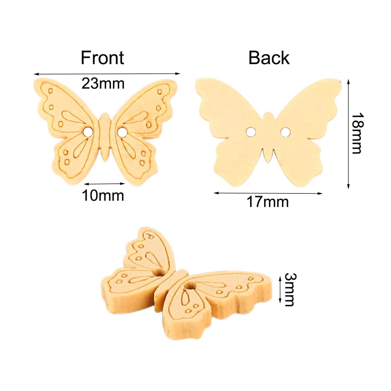 OOTSR 100 unids Botones de mariposa de madera 2 agujeros Color de madera Mini Forma de mariposa Botones de madera hechos a mano para costura//elaboraci/ón//scrapbooking