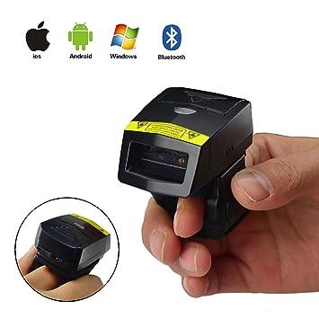 Mini Bluetooth EscáNer InaláMbrico De CóDigos De Barras Fs02 2D Qr Finger Scanner Con 6000 CóDigos