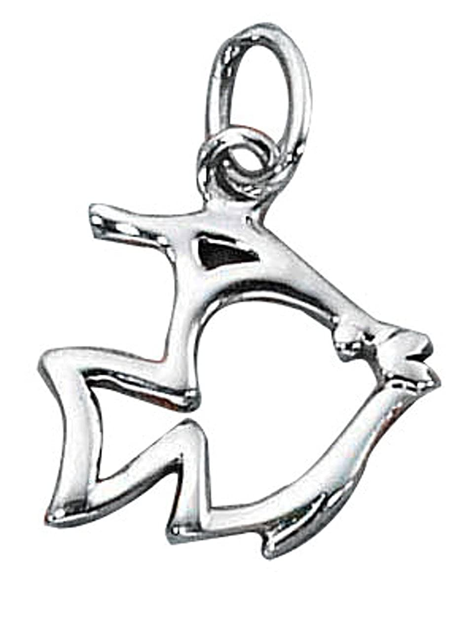Sterling Silver Girls .8mm Box Chain Angelfish Silhouette Pendant Necklace