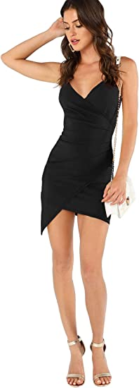 Women's Sexy Ruched Side Asymmetrical V Neck Dress