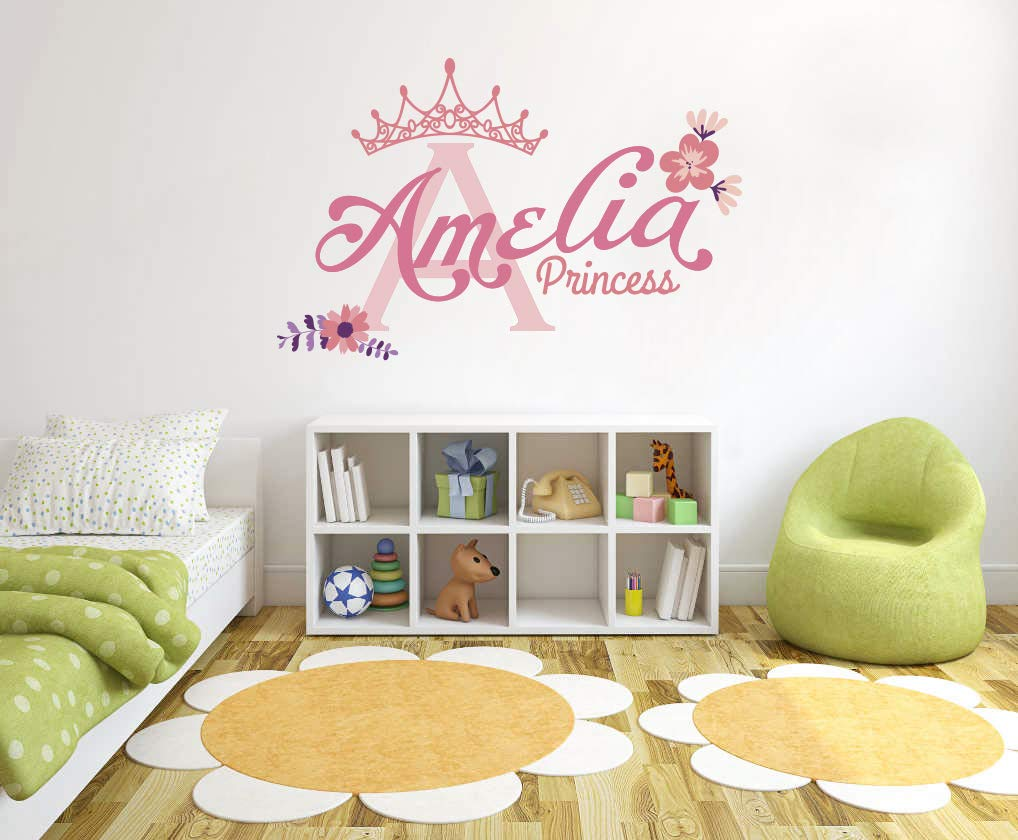 Baby Boy Custom Name /& Initial Beautiful Princess Wall Decal Nursery For Home Bedroom Children R Nov 23 Handmade Series