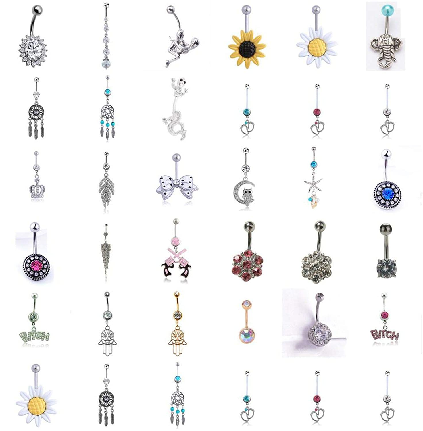 ihuoshang Piercing Belly Button Rings for Women Body Piercing Navel Ring Jewelry